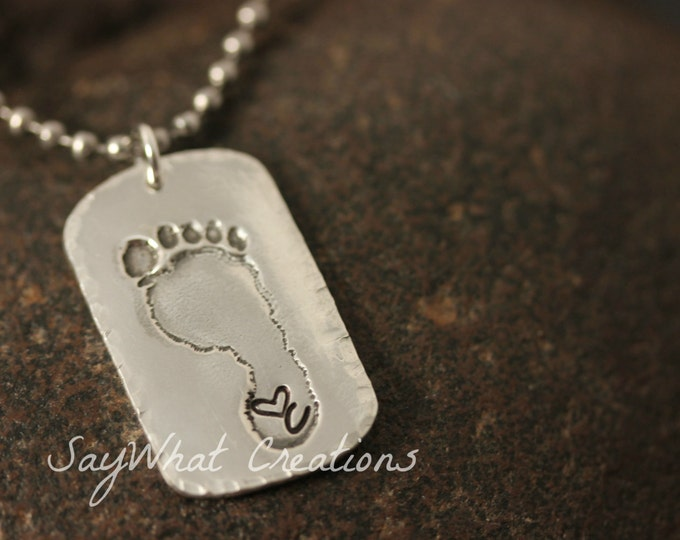 Your baby or child's ACTUAL footprints made into silver dog tag Includes ONE footprint charm with stamped initial and heart