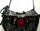 Custom Listing for mreider77...Black, red and Silver Handbag