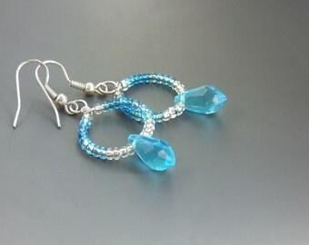 Blue ombre earrings, Turquoise silver plated jewelry, hoop dangle earrings, women gift