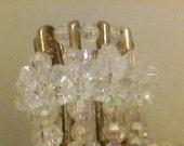 SALE Vintage Pair of Candle Holders, Bead Craft