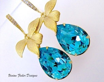 TEAL Blue Earrings GOLD Teal Wedding Jewelry Orchid Flower Bridesmaid Gift Prom Mother of the Bride