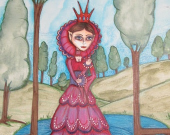 fantasy, big eyes girl, sage green and rose, lakeside stroll, red dress, faerie queen, crowned princess,