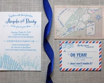 Beach Dunes Coastal Wedding Invitation