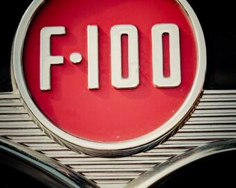 1956 Ford F-100 Red and Chrome Emblem - Mancave Decor - Housewarming Gift - Classic Car Art - Home Decor - Fine Art Photography