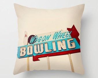 Wagon Wheel Bowling Neon Sign Pillow Cover