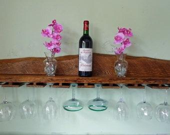 Wood Wine Glass Holder- Wood Glass Rack - Reclaimed Wood, Rustic Glass Rack, Rustic Bar Shelf, Reclaimed Wood Wine Glass Rack