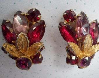 Vintage purple pink red Rhinestone Clip On Earrings - Bridal - Prom