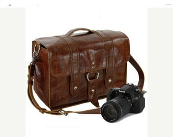 "15"" Caramel Sonoma Italian Leather Camera Bag"
