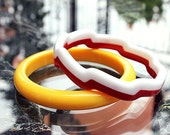 Plastic Bangles - Zig Zag Laminated and Yellow Domed - Set of 2