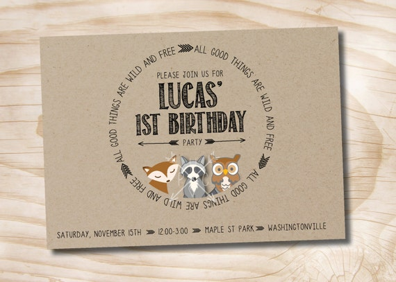 woodland friends wild and free kraft 1st birthday party invitation, Wedding invitations
