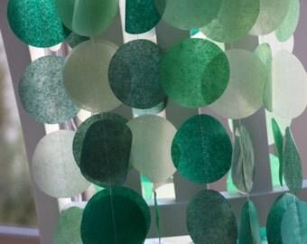 Tissue Paper Garland, Party Garland, Birthday Garland, Wedding Garland, Green Garland- Green Hues