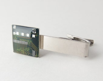 Circuit Board Tie Clip — Domed Green Tie Bar — Nerd Father's Day Gift