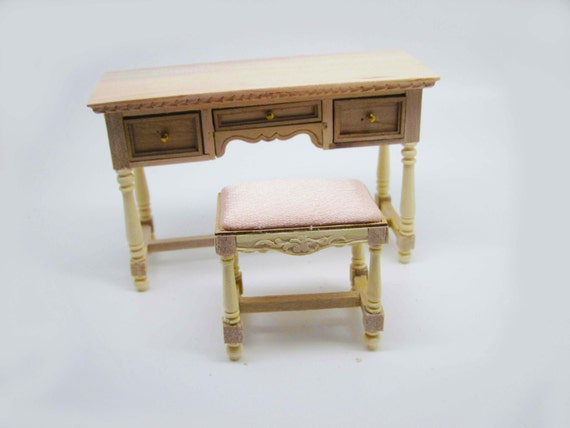 Miniature dollhouse furniture unfinished vanity table with stool code ...