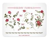 Christmas Flowers, Bouquet, & Foliage Clip Art - Blog Graphics - Instant Download
