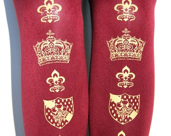 Crown Printed Tights Large Gold on Bordeaux Deep Red Burgundy Oxblood Wine Royal Medieval Fleur De Lys Gothic