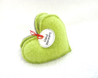 Heart Hand Warmers APPLE GREEN Hearts Handwarmers Lime Green Sweetheart Gift Felted Sweater Wool Rice Bags Teacher Gift Friend by WormeWoole