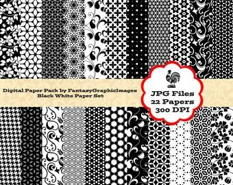 22 Black White Digital Paper Pack 22 Papers Timeless Patterns Floral Houndstooth Fleur De Lis Scrapbook Paper Scrapbooking Instant Download