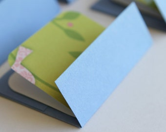 SALE Mini Cards n Envelopes - Set of 6 - Navy Blue with Patterned Birds on Grass Green