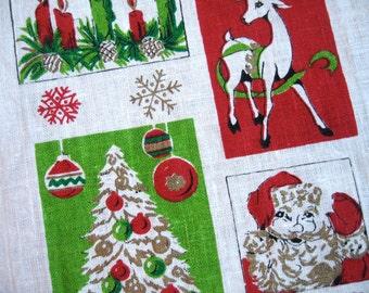Season's greetings. Vtg linen midcentury Christmas, holiday, Santa Claus kitchen towel. Very good condition.