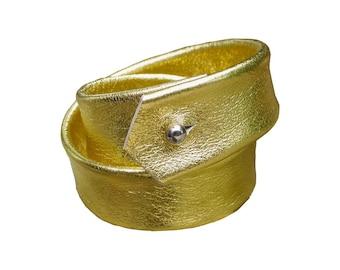 Double Wrap Leather Bracelet Cuff, Metallic Gold leather, Layered Leather Cuff  Bracelet,  Men  Women, custom made