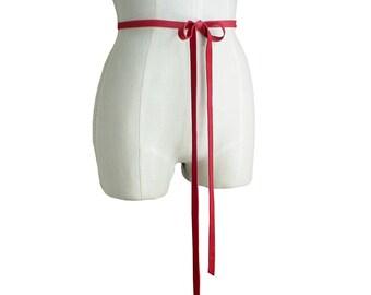 Red Leather Tie Belt,  Leather Bow Belt, Baby Bump Belt  Wedding Dress Sash Skinny Leather Belt, Basic  Preppy Belt