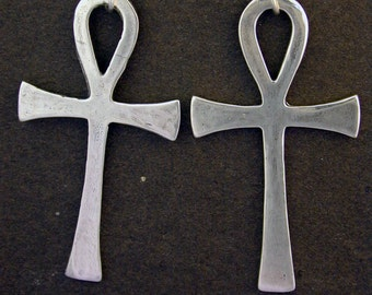 Sterling Silver Large Ankh Earrings on Heavy Sterling Silver French Wires