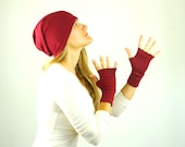 Fingerless Gloves - Marsala Red - Eco Friendly - Organic Clothing - Sustainable - Texting Gloves