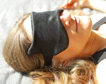 Eye Mask - Boudoir Sleep Mask - Cat Mask - Black Hemp Silk Charmeuse - Eco Friendly