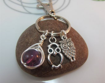 Owl  Keychain Keyring  mini owl charms wire wrapped amethyst gemstone with swivel clasp