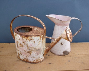 Old FRENCH toys metal watering can and body pitcher 1920s