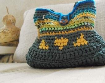 eCo ChiC rag crochet shoulder bag turquoise green and yellow bag tagt team