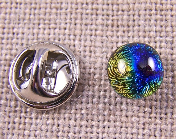 "Dichroic Glass Tiny Tie Tack - Cobalt Blue Gold Copper Rainbow Fused Glass - 1/4"" 8mm - Scarf Pin Flair for Suspenders Hat or Coat"