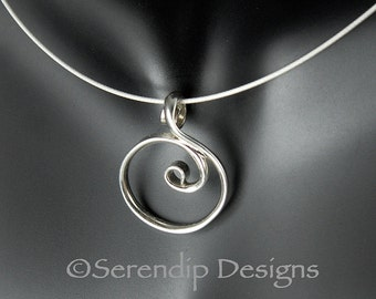 Little Silver Circle Pendant Argentium Spiral Circle Necklace  SN60