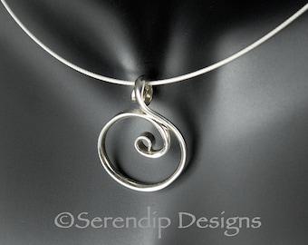 Little Silver Circle Pendant Argentium Spiral Circle Necklace  SN60
