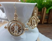 1 Pair(2pcs)  38x40mm Golden Snitch The Time Turners Time-Turner Earrings Nc111