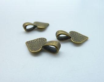 20pcs 10x16mm Antique bronze Smaller Heart Alloy Jewelry Bails- Great For Scrabble Tile Pendants And Glass Pendants C1404