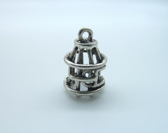 15pcs 17x10mm Antique Silver Mini 3D Bird Cage Charm Pendant B71