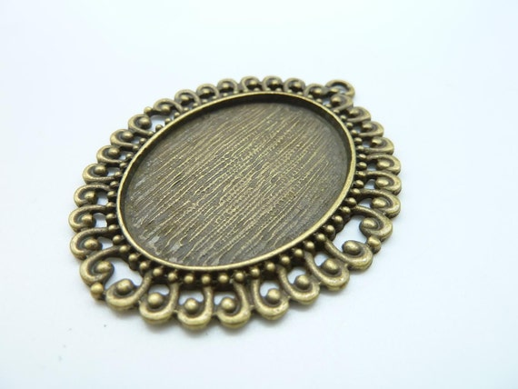 10pcs 47x57mm-30x40mm Antique Bronze Flowers Oval Filigree Cameo Cabochon Base Setting C1995