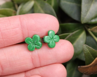 Polymer Clay Earrings... Green Four Leaf Clovers