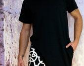 ROJAS unilateral angled black shirt, one sided short sleeveslanted  tshirt