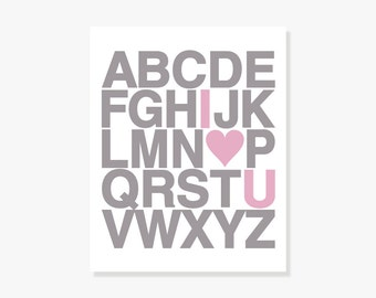 I Love U ABC Alphabet Poster - Nursery Baby Decor Kids Wall Art - Pink Taupe - Giclee