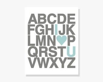 Love You Nursery Alphabet Poster - Wall Art ABC Print - 5x7 8x10 12x18 16x20 24x36 inches - Illustration Giclee