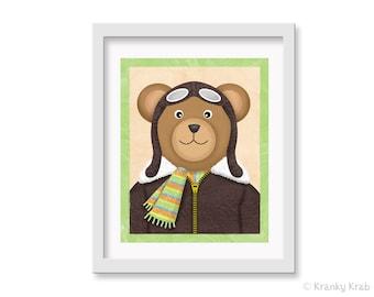 Aviator Bear Nursery Print - Art for Kids Room - 8 x 10 Pilot Airplane Bear Art - Airplane Kid Wall Art