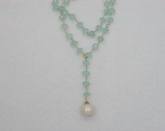 Chalcedony Necklace with Giant Pearl Drop! & 14k gf wirewrapping