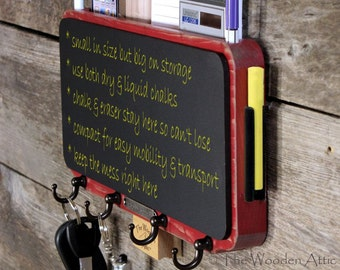 Mail Organizer, Key Rack, Mail Storage and Chalkboard Message Center in Barn Red