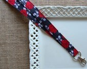 Fabric Lanyard - Red Roses on Charcoal Gray