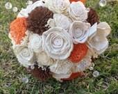 Handmade Natural Autumn/Fall Balsa Wood Flower Wedding Bouquet---Sola Flower Bouquet
