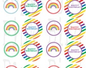 Printable Cupcake Toppers: Rainbow Birthday