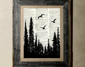 Buy 1 get 1 Free - Forest - Printed on a Vintage Dictionary, 8X10, dictionary art, paper art, illustration art, collage