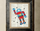 Buy 1 get 1 Free - Robot - Printed on a Vintage Dictionary, 8X10, dictionary art, paper art, illustration art, collage